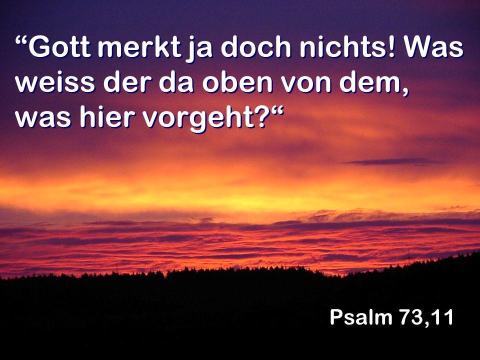 Gott merkt ja doch nichts! Was weiss der da oben von dem, was hier vorgeht? Psalm 73,11
