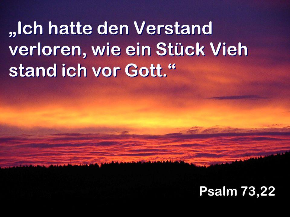 Ich hatte den Verstand verloren, wie ein Stück Vieh stand ich vor Gott. Psalm 73,22
