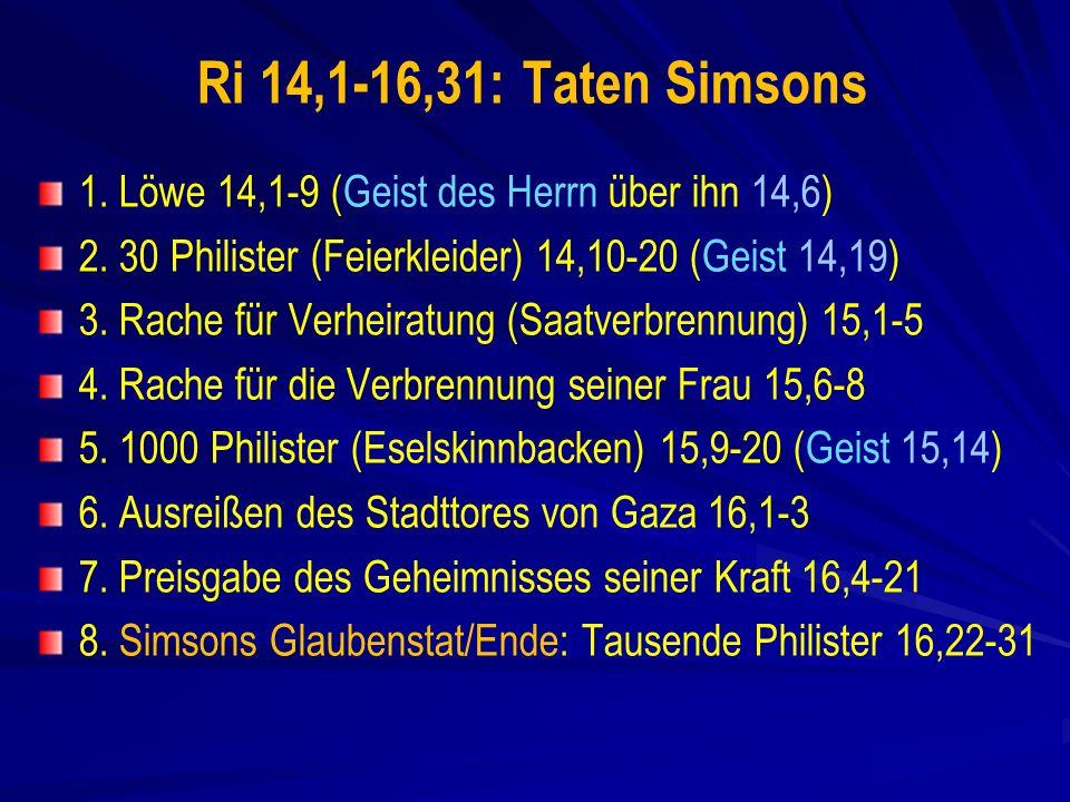 Ri 14,1-16,31: Taten Simsons 1.Löwe 14,1-9 (Geist des Herrn über ihn 14,6) 2.
