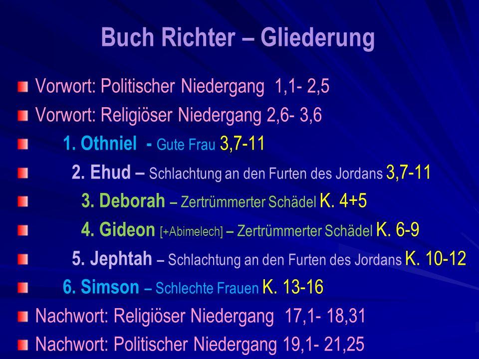 Buch Richter – Gliederung Vorwort: Politischer Niedergang 1,1- 2,5 Vorwort: Religiöser Niedergang 2,6- 3,6 1.