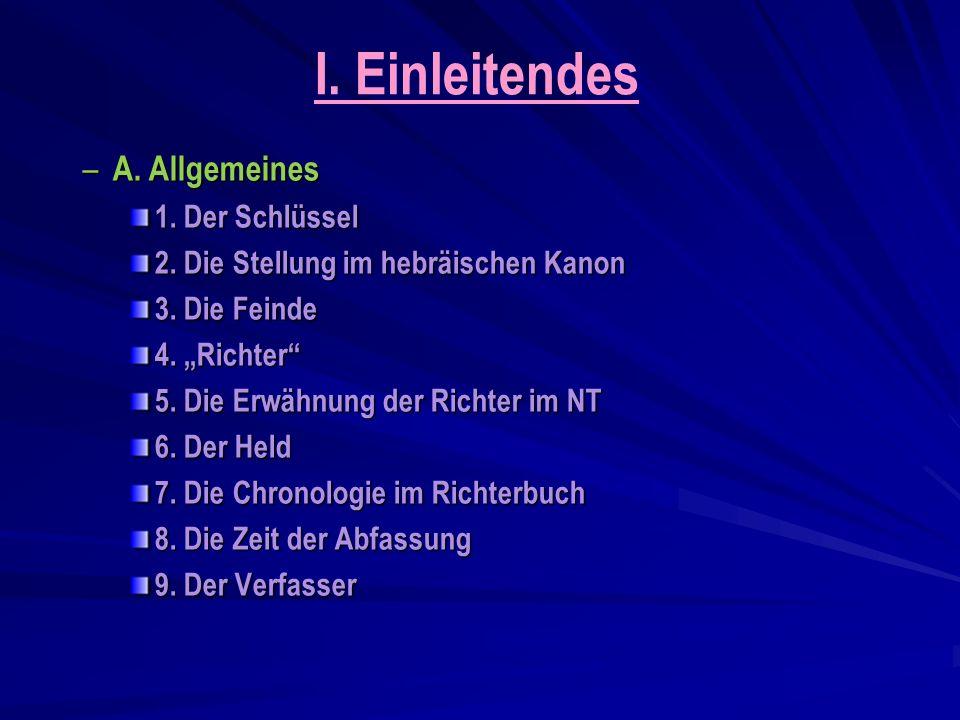I.Einleitendes – A. Allgemeines 1. Der Schlüssel 2.