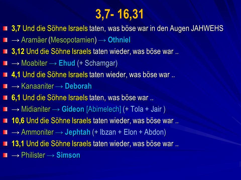 3,7- 16,31 3,7 Und die Söhne Israels taten, was böse war in den Augen JAHWEHS Aramäer (Mesopotamien) Othniel Aramäer (Mesopotamien) Othniel 3,12 Und die Söhne Israels taten wieder, was böse war..