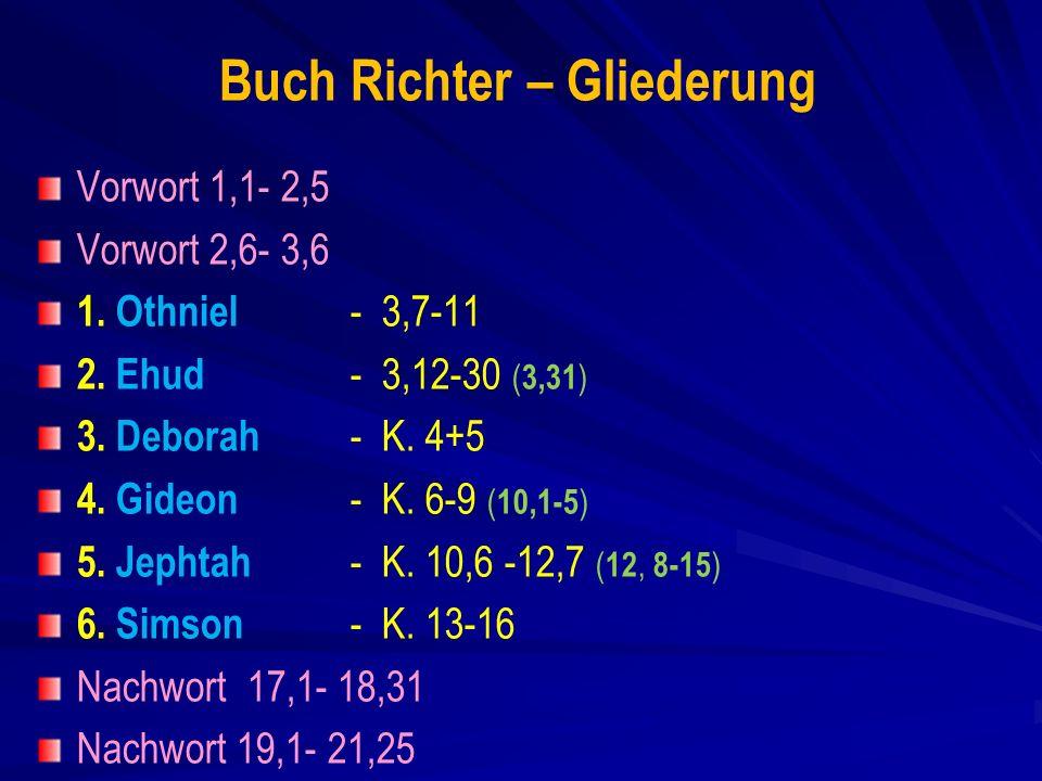 Buch Richter – Gliederung Vorwort 1,1- 2,5 Vorwort 2,6- 3,6 1.