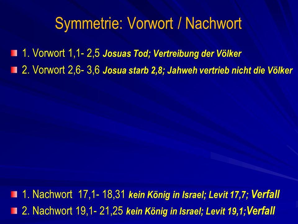 Symmetrie: Vorwort / Nachwort 1.Vorwort 1,1- 2,5 Josuas Tod; Vertreibung der Völker 2.