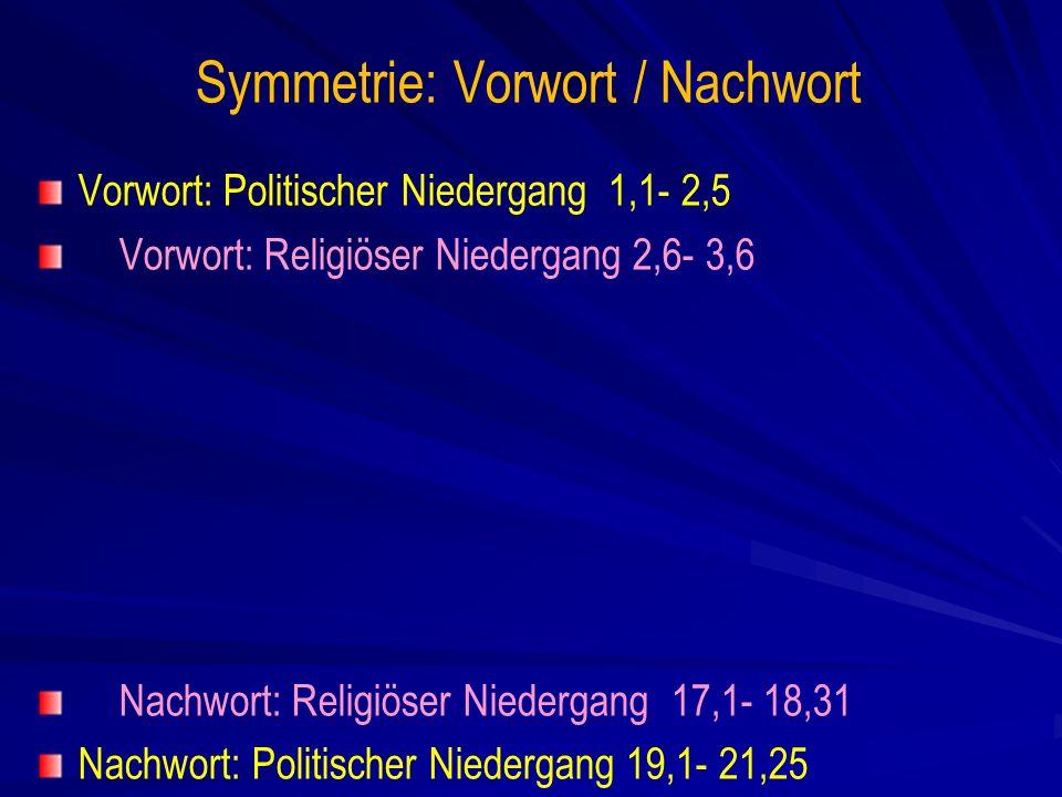 Symmetrie: Vorwort / Nachwort Vorwort: Politischer Niedergang 1,1- 2,5 Vorwort: Religiöser Niedergang 2,6- 3,6 Nachwort: Religiöser Niedergang 17,1- 18,31 Nachwort: Politischer Niedergang 19,1- 21,25