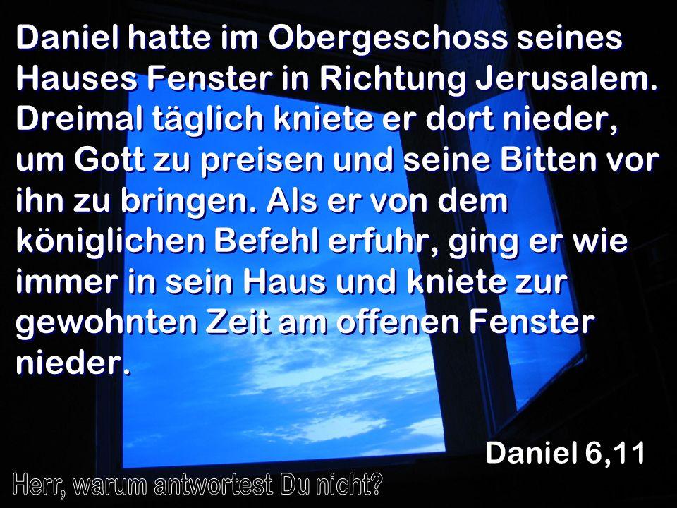 Daniel hatte im Obergeschoss seines Hauses Fenster in Richtung Jerusalem. Dreimal täglich kniete er dort nieder, um Gott zu preisen und seine Bitten v