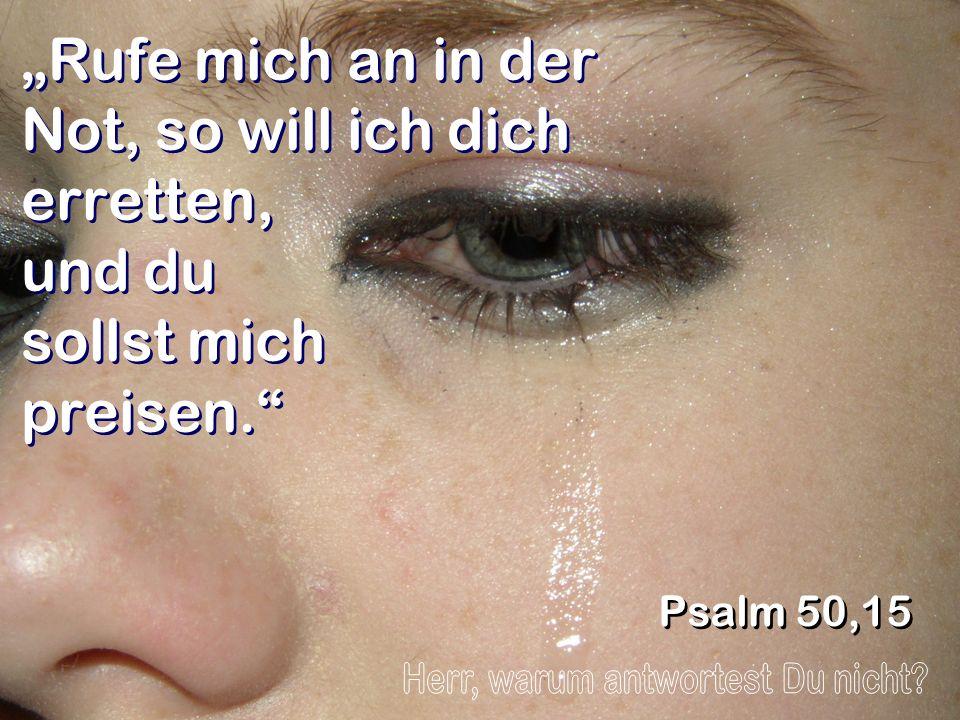 Rufe mich an in der Not, so will ich dich erretten, und du sollst mich preisen. Psalm 50,15