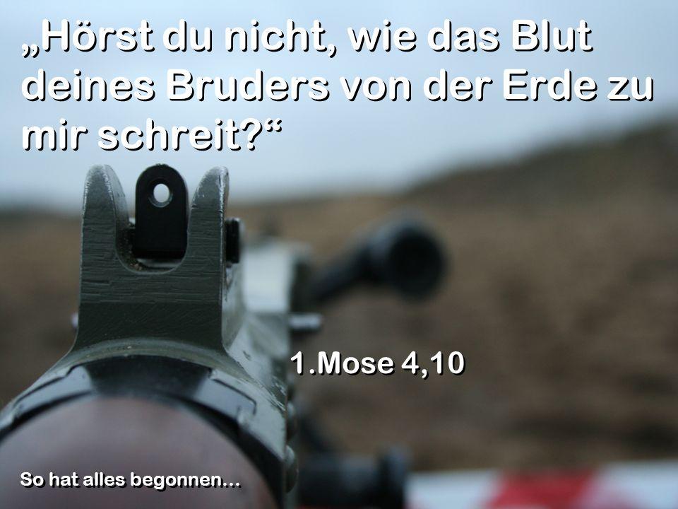 Hörst du nicht, wie das Blut deines Bruders von der Erde zu mir schreit? 1.Mose 4,10 So hat alles begonnen…