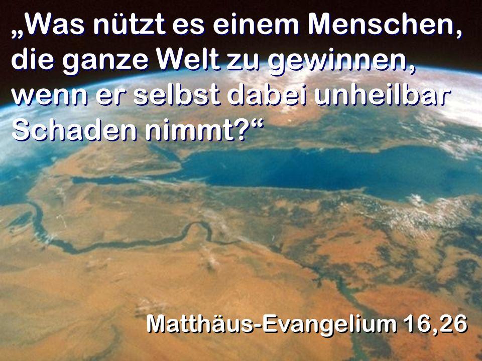 Was nützt es einem Menschen, die ganze Welt zu gewinnen, wenn er selbst dabei unheilbar Schaden nimmt? Matthäus-Evangelium 16,26