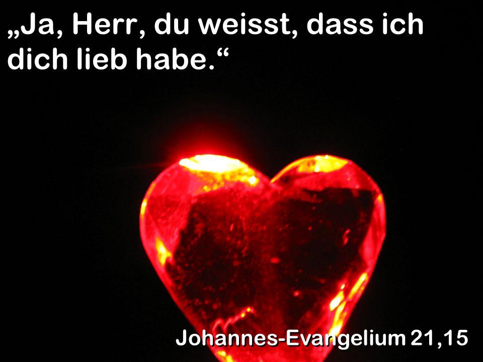 Ja, Herr, du weisst, dass ich dich lieb habe. Johannes-Evangelium 21,15