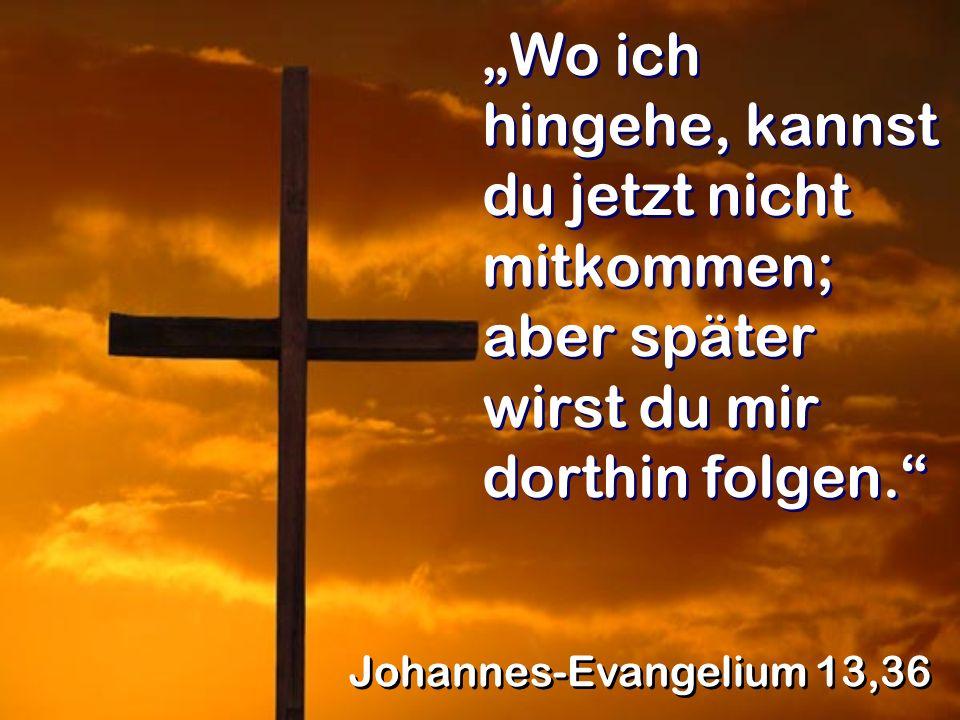 Wo ich hingehe, kannst du jetzt nicht mitkommen; aber später wirst du mir dorthin folgen. Johannes-Evangelium 13,36