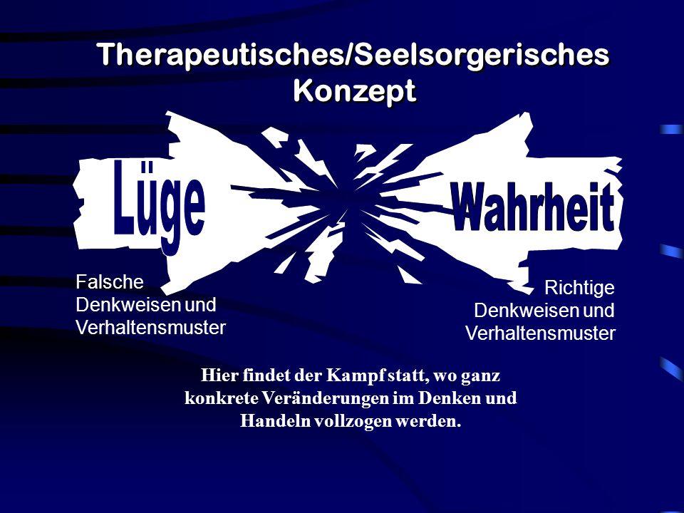 Therapeutisches/Seelsorgerisches Konzept Hier findet der Kampf statt, wo ganz konkrete Veränderungen im Denken und Handeln vollzogen werden.