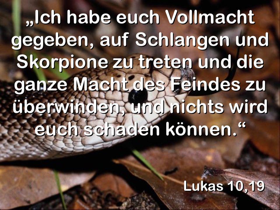 Lukas 10,19 Ich habe euch Vollmacht gegeben, auf Schlangen und Skorpione zu treten und die ganze Macht des Feindes zu überwinden, und nichts wird euch