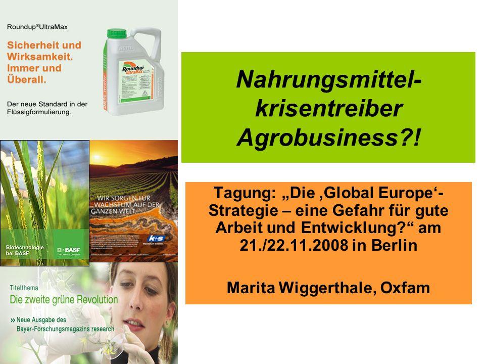Nahrungsmittel- krisentreiber Agrobusiness?! Tagung: Die Global Europe- Strategie – eine Gefahr für gute Arbeit und Entwicklung? am 21./22.11.2008 in