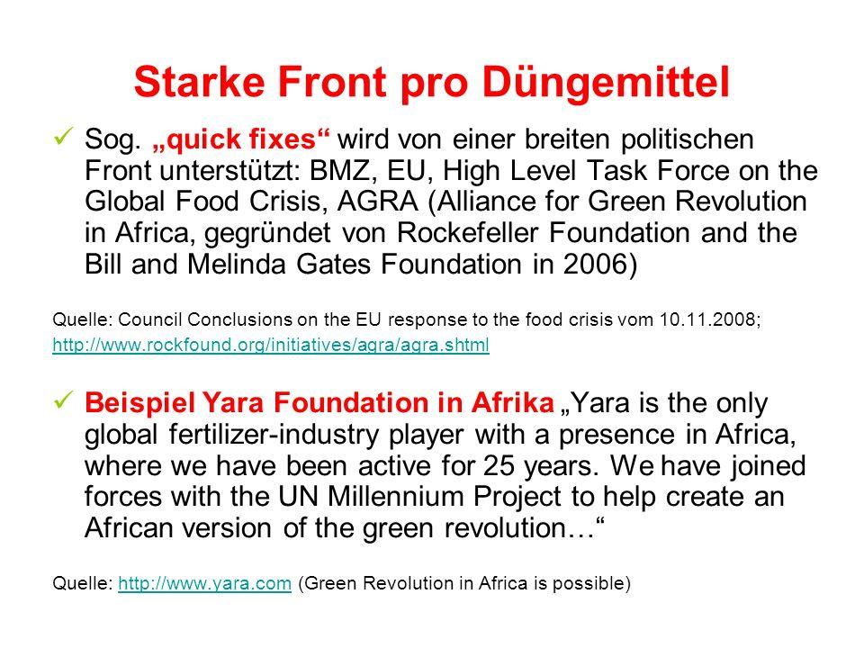 Starke Front pro Düngemittel Sog. quick fixes wird von einer breiten politischen Front unterstützt: BMZ, EU, High Level Task Force on the Global Food