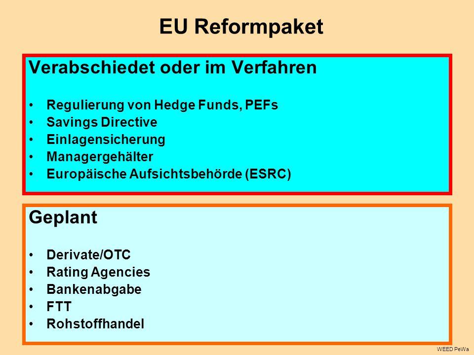 EU Reformpaket Verabschiedet oder im Verfahren Regulierung von Hedge Funds, PEFs Savings Directive Einlagensicherung Managergehälter Europäische Aufsi