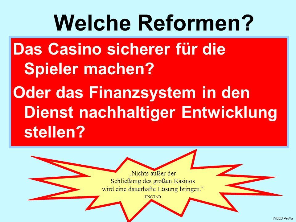 Das Casino sicherer für die Spieler machen? Oder das Finanzsystem in den Dienst nachhaltiger Entwicklung stellen? Welche Reformen? WEED PeWa Nichts au