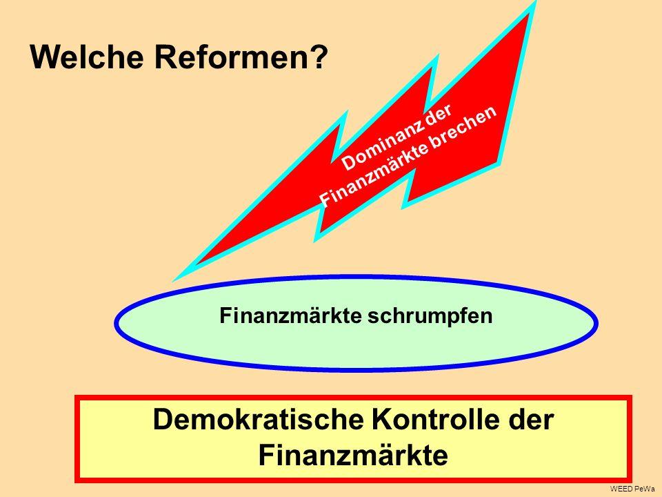 WEED PeWa Demokratische Kontrolle der Finanzmärkte Dominanz der Finanzmärkte brechen Finanzmärkte schrumpfen Welche Reformen?