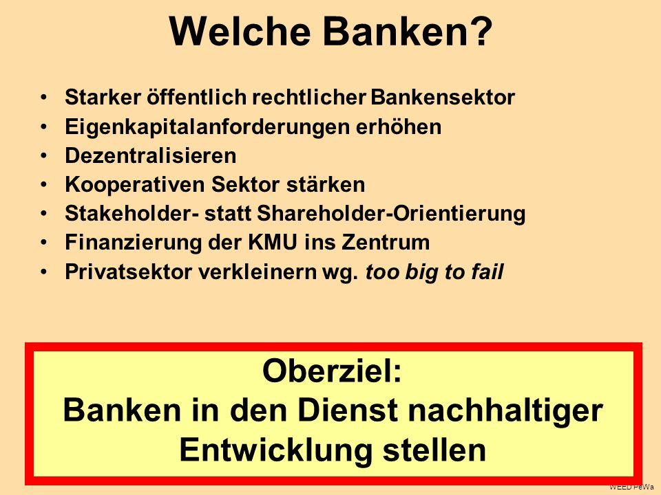 Welche Banken? Starker öffentlich rechtlicher Bankensektor Eigenkapitalanforderungen erhöhen Dezentralisieren Kooperativen Sektor stärken Stakeholder-