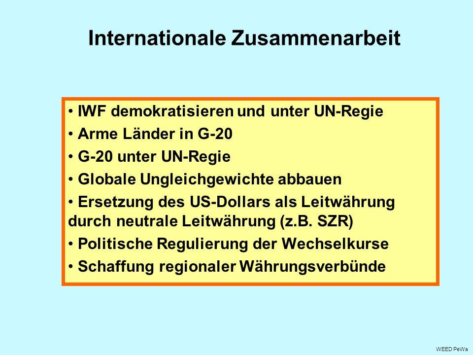 Internationale Zusammenarbeit IWF demokratisieren und unter UN-Regie Arme Länder in G-20 G-20 unter UN-Regie Globale Ungleichgewichte abbauen Ersetzun