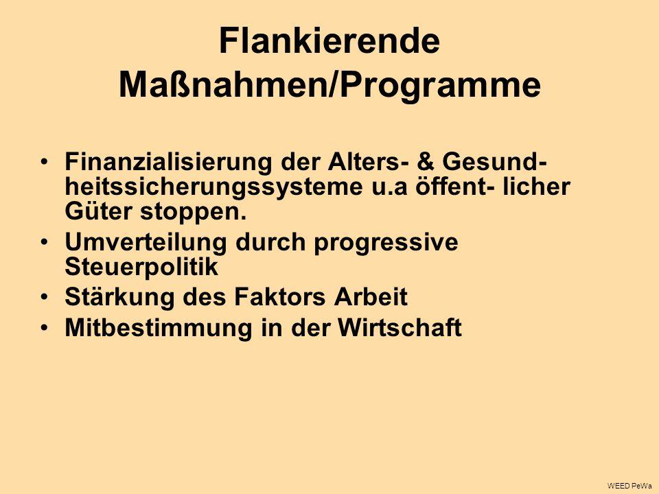 Flankierende Maßnahmen/Programme Finanzialisierung der Alters- & Gesund- heitssicherungssysteme u.a öffent- licher Güter stoppen. Umverteilung durch p