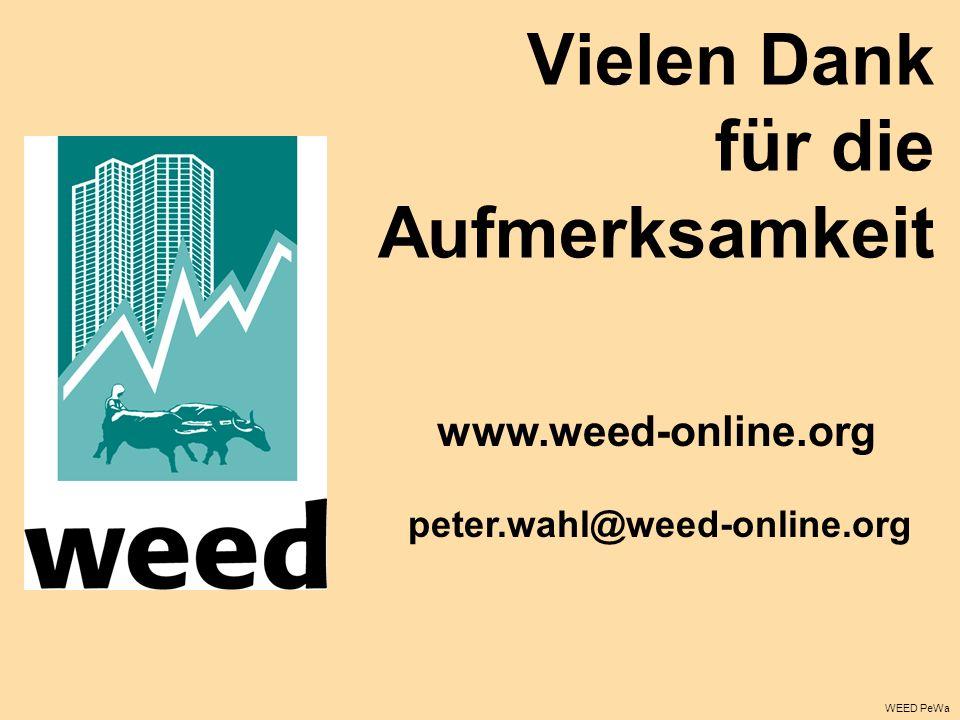 Vielen Dank für die Aufmerksamkeit www.weed-online.org peter.wahl@weed-online.org WEED PeWa