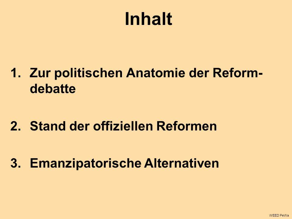 Inhalt 1.Zur politischen Anatomie der Reform- debatte 2.Stand der offiziellen Reformen 3.Emanzipatorische Alternativen WEED PeWa