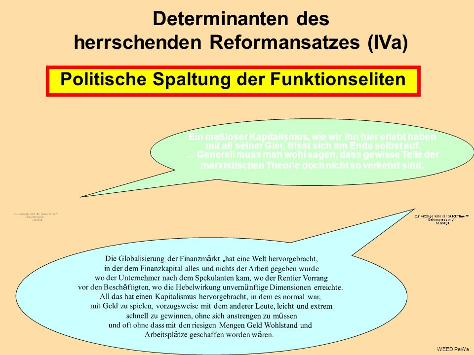 Politische Spaltung der Funktionseliten Determinanten des herrschenden Reformansatzes (IVa) Ein maßloser Kapitalismus, wie wir ihn hier erlebt haben m