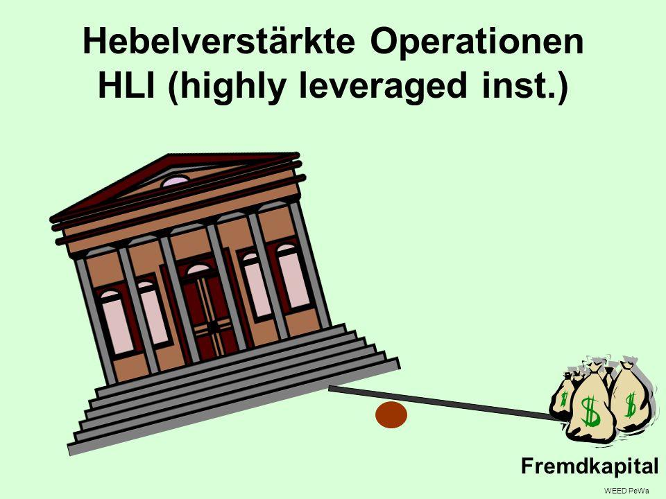 Hebelverstärkte Operationen HLI (highly leveraged inst.) WEED PeWa Fremdkapital