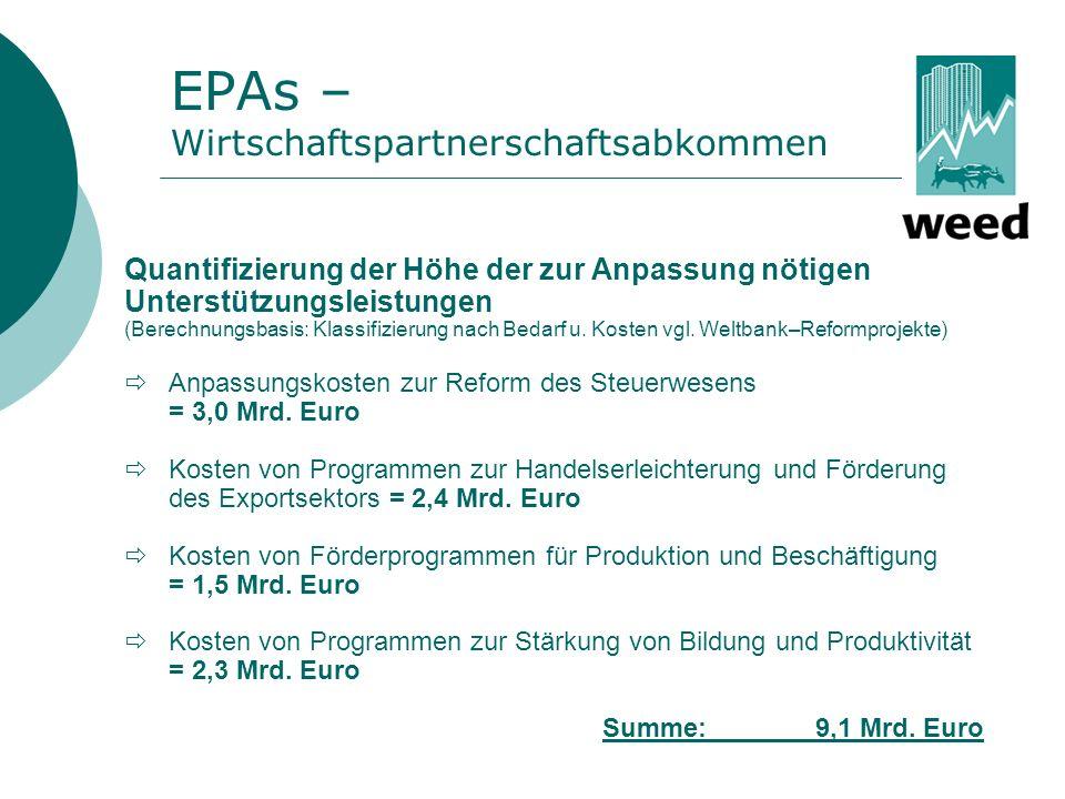 ...Es muss befürchtet werden, dass die durch die EPAs festgelegten Handelsliberalisierungen negative Auswirkungen auf die Staatseinkünfte haben können.