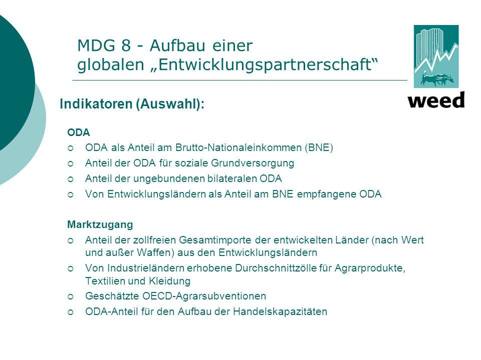 MDG 8 - Aufbau einer globalen Entwicklungspartnerschaft 1.