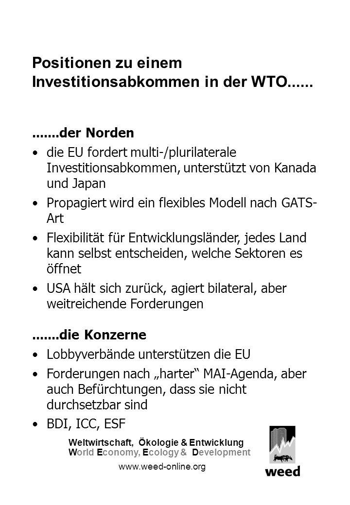 Positionen zu einem Investitionsabkommen in der WTO.............der Norden die EU fordert multi-/plurilaterale Investitionsabkommen, unterstützt von Kanada und Japan Propagiert wird ein flexibles Modell nach GATS- Art Flexibilität für Entwicklungsländer, jedes Land kann selbst entscheiden, welche Sektoren es öffnet USA hält sich zurück, agiert bilateral, aber weitreichende Forderungen.......die Konzerne Lobbyverbände unterstützen die EU Forderungen nach harter MAI-Agenda, aber auch Befürchtungen, dass sie nicht durchsetzbar sind BDI, ICC, ESF Weltwirtschaft, Ökologie &Entwicklung WorldEconomy,Ecology & Development www.weed-online.org