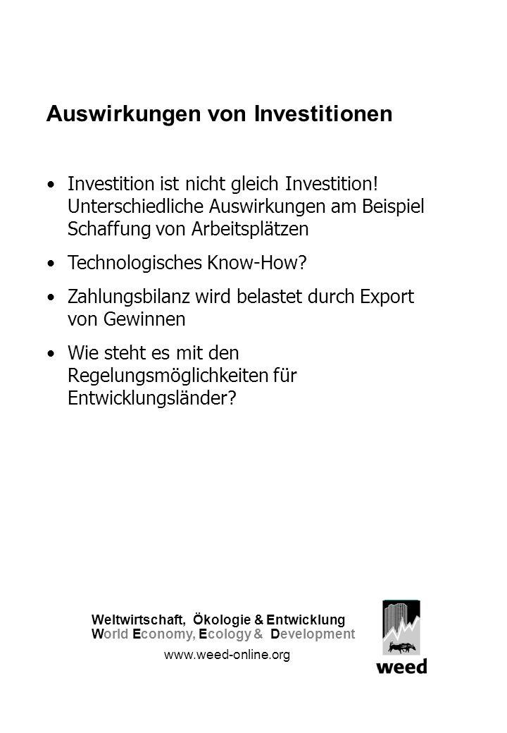 Auswirkungen von Investitionen Investition ist nicht gleich Investition.