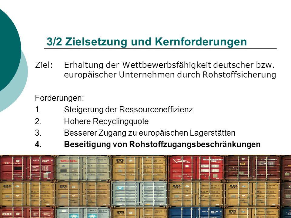 3/2 Zielsetzung und Kernforderungen Ziel: Erhaltung der Wettbewerbsfähigkeit deutscher bzw. europäischer Unternehmen durch Rohstoffsicherung Forderung