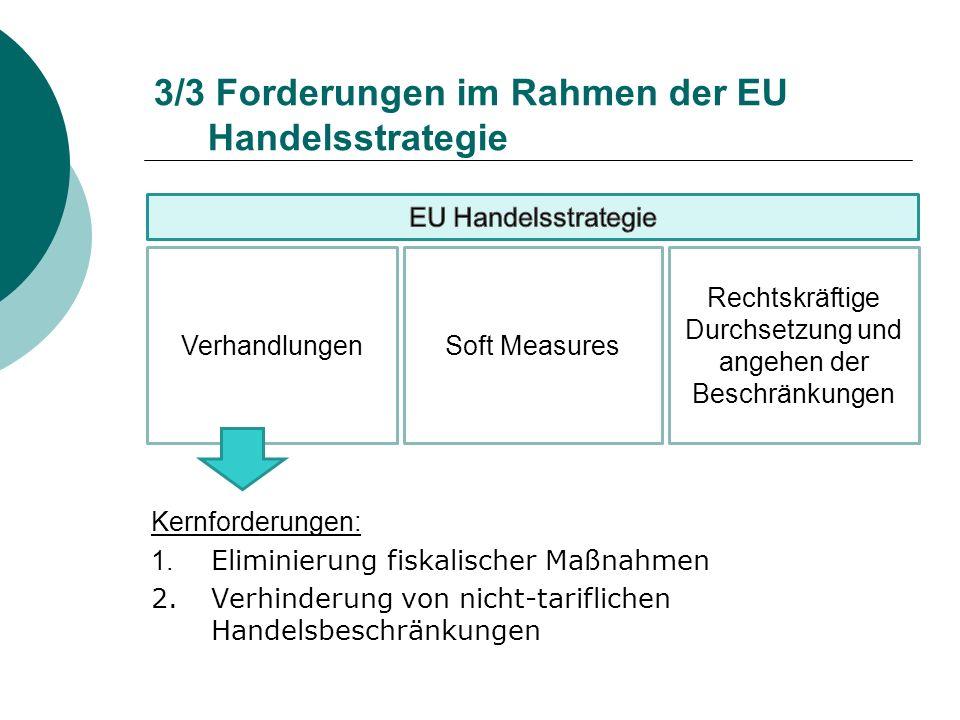 3/3 Forderungen im Rahmen der EU Handelsstrategie Kernforderungen: 1. Eliminierung fiskalischer Maßnahmen 2.Verhinderung von nicht-tariflichen Handels
