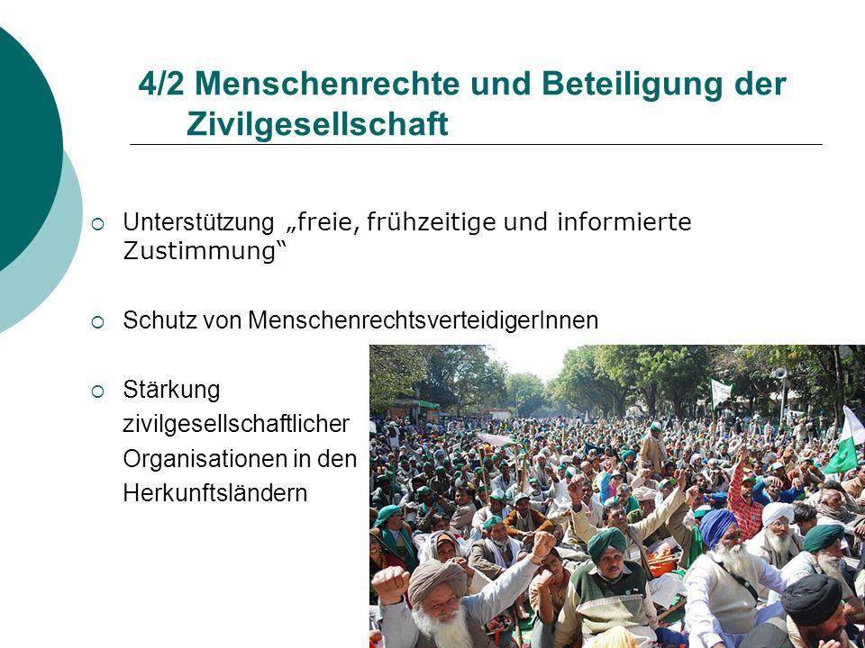 4/2 Menschenrechte und Beteiligung der Zivilgesellschaft Unterstützung freie, frühzeitige und informierte Zustimmung Schutz von Menschenrechtsverteidi