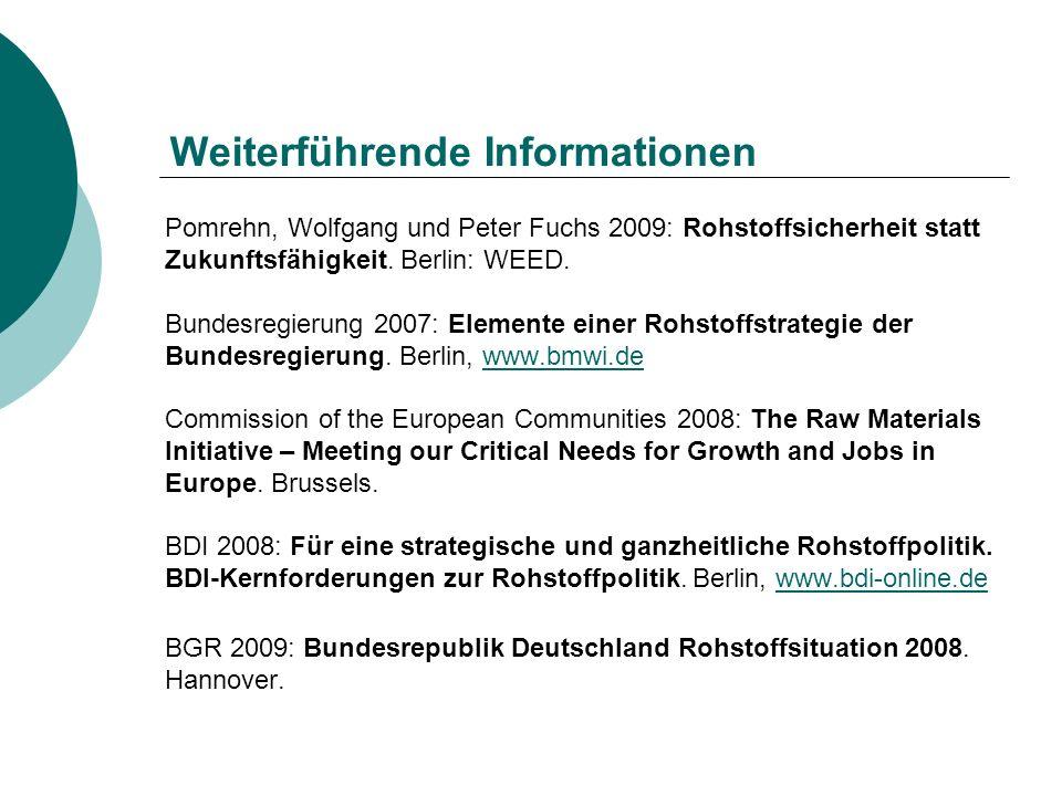 Weiterführende Informationen Pomrehn, Wolfgang und Peter Fuchs 2009: Rohstoffsicherheit statt Zukunftsfähigkeit. Berlin: WEED. Bundesregierung 2007: E