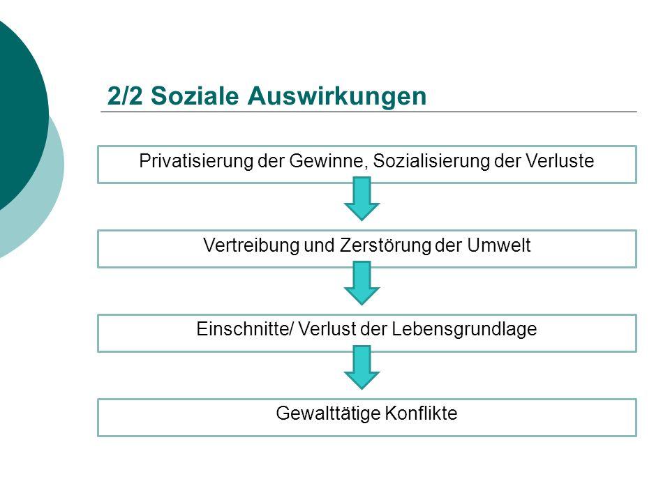 2/2 Soziale Auswirkungen Privatisierung der Gewinne, Sozialisierung der Verluste Vertreibung und Zerstörung der Umwelt Einschnitte/ Verlust der Lebens
