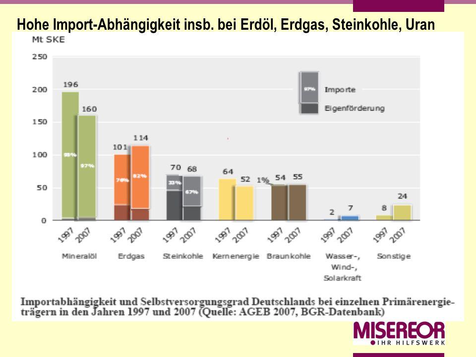 Hohe Import-Abhängigkeit insb. bei Erdöl, Erdgas, Steinkohle, Uran