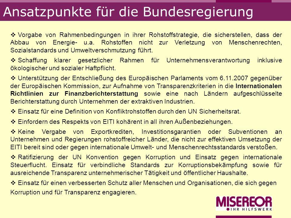 Ansatzpunkte für die Bundesregierung Vorgabe von Rahmenbedingungen in ihrer Rohstoffstrategie, die sicherstellen, dass der Abbau von Energie- u.a. Roh