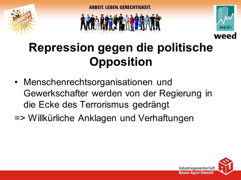 Repression gegen die politische Opposition Menschenrechtsorganisationen und Gewerkschafter werden von der Regierung in die Ecke des Terrorismus gedrän