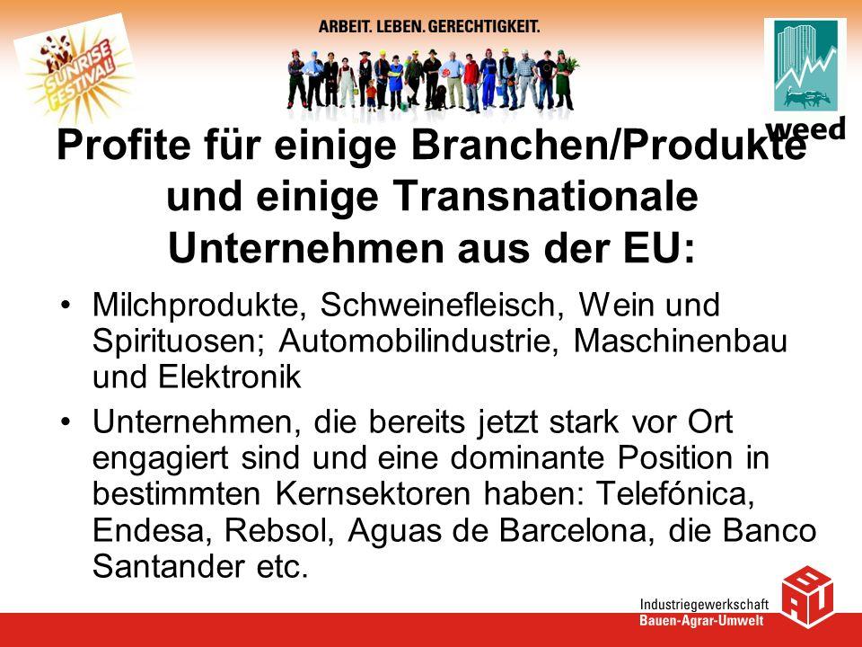 Profite für einige Branchen/Produkte und einige Transnationale Unternehmen aus der EU: Milchprodukte, Schweinefleisch, Wein und Spirituosen; Automobil