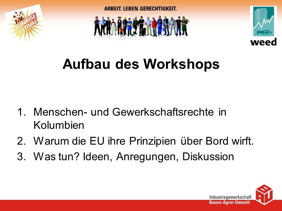 Aufbau des Workshops 1.Menschen- und Gewerkschaftsrechte in Kolumbien 2.Warum die EU ihre Prinzipien über Bord wirft. 3.Was tun? Ideen, Anregungen, Di