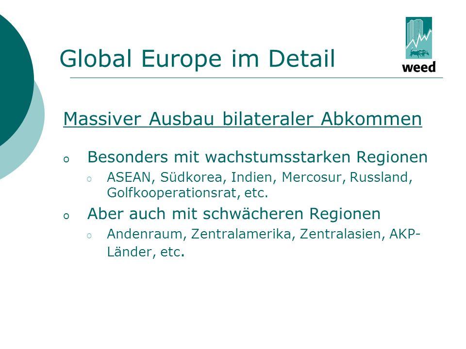 Global Europe im Detail Massiver Ausbau bilateraler Abkommen o Besonders mit wachstumsstarken Regionen o ASEAN, Südkorea, Indien, Mercosur, Russland, Golfkooperationsrat, etc.