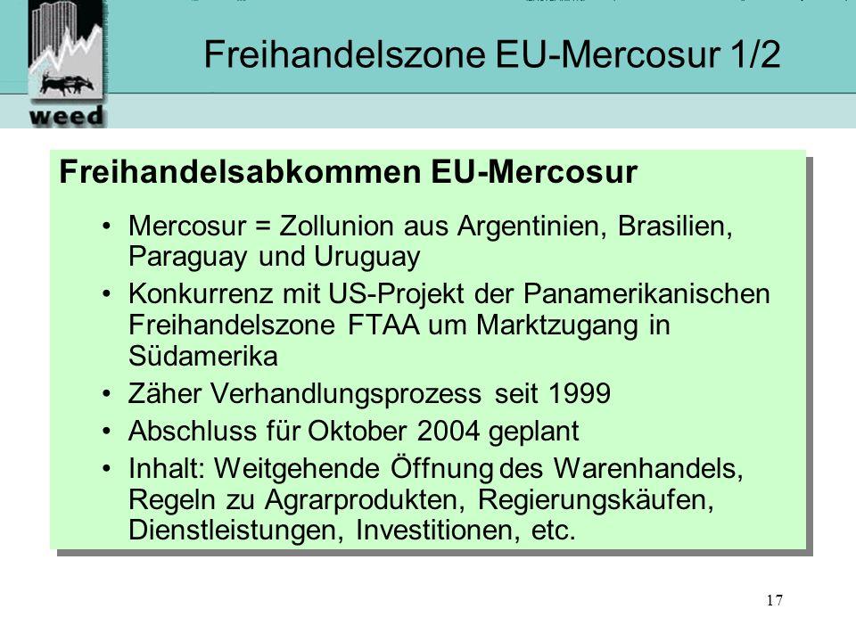 17 Freihandelszone EU-Mercosur 1/2 Freihandelsabkommen EU-Mercosur Mercosur = Zollunion aus Argentinien, Brasilien, Paraguay und Uruguay Konkurrenz mit US-Projekt der Panamerikanischen Freihandelszone FTAA um Marktzugang in Südamerika Zäher Verhandlungsprozess seit 1999 Abschluss für Oktober 2004 geplant Inhalt: Weitgehende Öffnung des Warenhandels, Regeln zu Agrarprodukten, Regierungskäufen, Dienstleistungen, Investitionen, etc.
