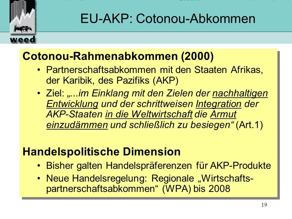 19 EU-AKP: Cotonou-Abkommen Cotonou-Rahmenabkommen (2000) Partnerschaftsabkommen mit den Staaten Afrikas, der Karibik, des Pazifiks (AKP) Ziel:...im Einklang mit den Zielen der nachhaltigen Entwicklung und der schrittweisen Integration der AKP-Staaten in die Weltwirtschaft die Armut einzudämmen und schließlich zu besiegen (Art.1) Handelspolitische Dimension Bisher galten Handelspräferenzen für AKP-Produkte Neue Handelsregelung: Regionale Wirtschafts- partnerschaftsabkommen (WPA) bis 2008 Cotonou-Rahmenabkommen (2000) Partnerschaftsabkommen mit den Staaten Afrikas, der Karibik, des Pazifiks (AKP) Ziel:...im Einklang mit den Zielen der nachhaltigen Entwicklung und der schrittweisen Integration der AKP-Staaten in die Weltwirtschaft die Armut einzudämmen und schließlich zu besiegen (Art.1) Handelspolitische Dimension Bisher galten Handelspräferenzen für AKP-Produkte Neue Handelsregelung: Regionale Wirtschafts- partnerschaftsabkommen (WPA) bis 2008