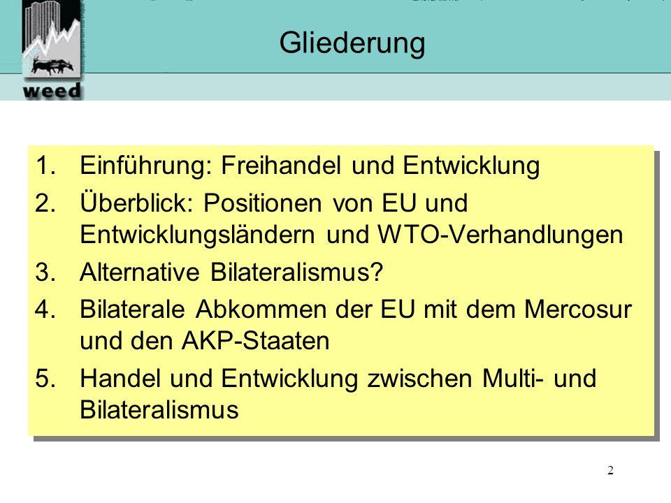 23 Fazit 1/3: Multilateralismus und Bilateralismus im Spannungsfeld Bilateralismus verstärkt die Konzentration von Macht in den Handelsbeziehungen: Vorteile des multilateralen Systems gefährdet: WTO-Streitschlichtung nicht anwendbar, Koalitionsbildung der Entwicklungsländer erschwert Große Verhandlungsbelastung für Entwicklungsländer Asymmetrische Verhandlungen (stark gegen schwach) Durchsetzung von WTO-plus Verpflichtungen wird so leichter möglich Bilateralismus verstärkt die Konzentration von Macht in den Handelsbeziehungen: Vorteile des multilateralen Systems gefährdet: WTO-Streitschlichtung nicht anwendbar, Koalitionsbildung der Entwicklungsländer erschwert Große Verhandlungsbelastung für Entwicklungsländer Asymmetrische Verhandlungen (stark gegen schwach) Durchsetzung von WTO-plus Verpflichtungen wird so leichter möglich