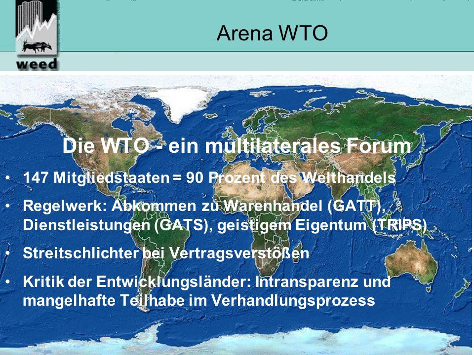 8 Arena WTO Die WTO - ein multilaterales Forum 147 Mitgliedstaaten = 90 Prozent des Welthandels Regelwerk: Abkommen zu Warenhandel (GATT), Dienstleistungen (GATS), geistigem Eigentum (TRIPS) Streitschlichter bei Vertragsverstößen Kritik der Entwicklungsländer: Intransparenz und mangelhafte Teilhabe im Verhandlungsprozess
