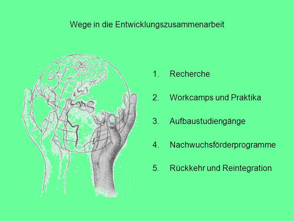 Wege in die Entwicklungszusammenarbeit 1.Recherche 2.Workcamps und Praktika 3.Aufbaustudiengänge 4.Nachwuchsförderprogramme 5.Rückkehr und Reintegrati