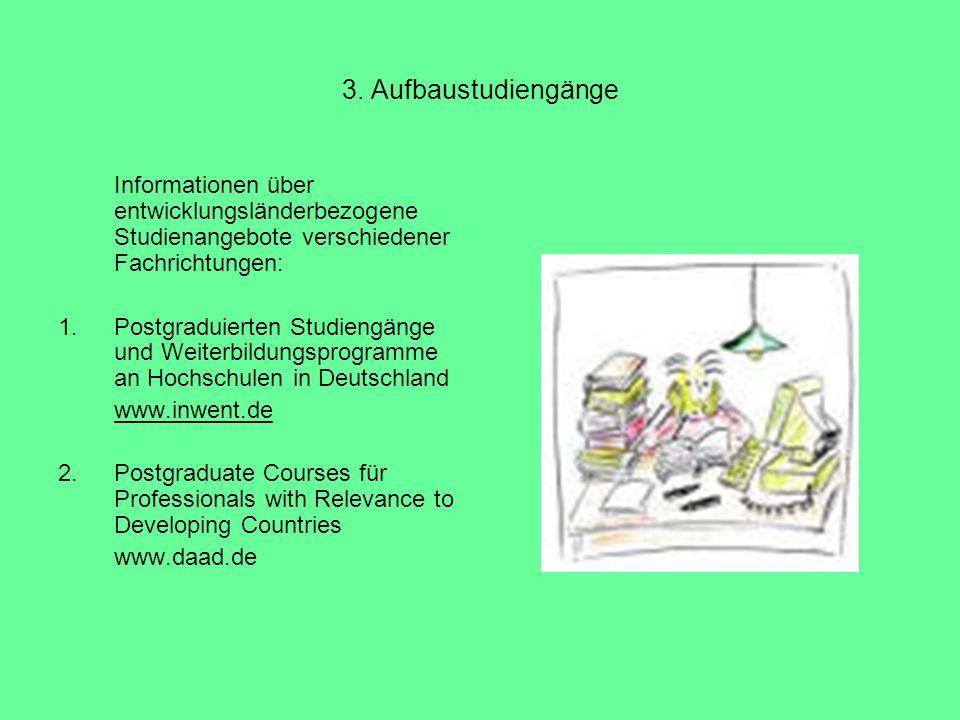 3. Aufbaustudiengänge Informationen über entwicklungsländerbezogene Studienangebote verschiedener Fachrichtungen: 1.Postgraduierten Studiengänge und W